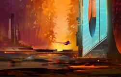 Paysage lumineux peint de soirée de l'avenir avec des starships illustration de vecteur