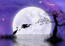 Paysage lunaire d'imagination de héron Image stock