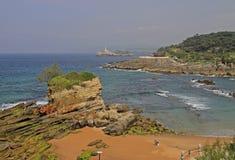 Paysage marin à la côte de la ville espagnole Santander Photographie stock libre de droits