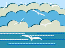 Paysage marin illustration de vecteur