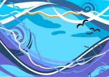 Paysage marin abstrait avec la mouette d'onde et de mer. photo stock