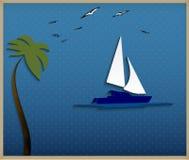 Paysage marin abstrait de fond-papier avec un voilier Photos stock
