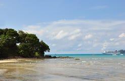 Paysage marin avec des palmiers et un revêtement Photos stock