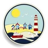 Paysage marin avec l'insigne de phare et de bateaux illustration stock