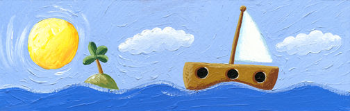 Paysage marin avec le bateau à voiles Image libre de droits