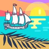 Paysage marin avec le bateau, le Sandy Beach et le coucher du soleil en bois Photos stock