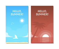 Paysage marin avec le yacht de navigation Plage tropicale avec la silhouette du palmier sur le coucher du soleil illustration de vecteur