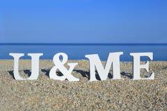 Paysage marin avec les mots blancs vous et moi Photographie stock libre de droits
