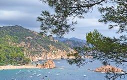 Paysage marin avec une île en mer et les montagnes le long du c Images stock