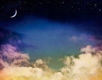 Paysage marin brumeux de lune Images stock