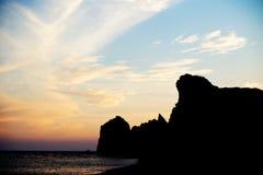 Paysage marin célèbre de la roche de la plage d'Aphrodite à Image stock