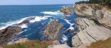 Paysage marin côtier de l'Orégon - panorama photographie stock