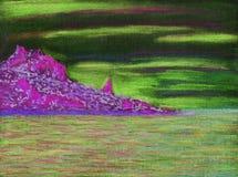 Paysage marin calme Cap rocheux avec la forêt illustration de vecteur