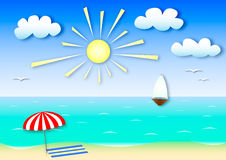 Paysage marin d'été d'illustration colorée effet d'application Photo libre de droits