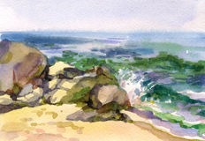 Paysage marin d'aquarelle illustration libre de droits