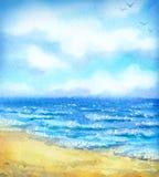 Paysage marin d'aquarelle Image libre de droits