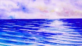 Paysage marin d'aquarelle peignant coloré de la vue bleue de mer illustration libre de droits