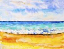 Paysage marin d'aquarelle peignant coloré de la vue de mer illustration libre de droits