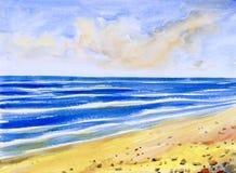 Paysage marin d'aquarelle peignant coloré de la vue de mer, plage illustration de vecteur