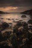 Paysage marin de coucher du soleil Photos stock