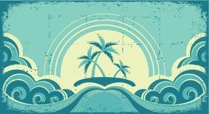 Paysage marin de cru avec les paumes tropicales Photographie stock libre de droits