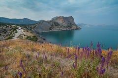 Paysage marin de matin avec des montagnes Photo stock