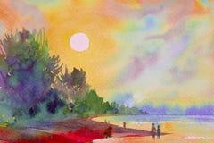 Paysage marin de peinture d'aquarelle coloré du soleil et du sable illustration stock