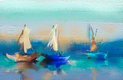 Paysage marin de peintures à l'huile avec le bateau, voile sur la mer Photos stock