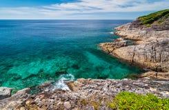 Paysage marin de point de vue à l'île de Tachai, Phang Nga Images libres de droits