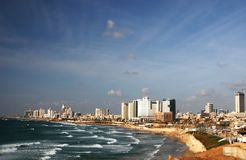 Paysage marin de Tel Aviv, Israël Image libre de droits