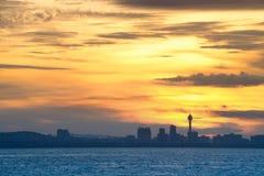 Paysage marin de ville de Pattaya pendant le matin Photographie stock libre de droits