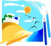 Paysage marin dessiné avec les crayons colorés Images libres de droits