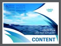 Paysage marin et fond de calibre de conception de disposition de présentation de ciel bleu pour des affaires de voyage de tourism Image libre de droits