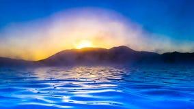Paysage marin noir d'encre Photo libre de droits