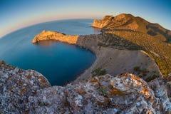 Montagne et paysage de mer par la lentille de fisheye Photographie stock