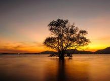 Paysage marin pendant le coucher du soleil Klong Mudong, Phuket Thaïlande Images stock