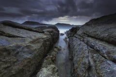 Paysage marin pendant le crépuscule Beau paysage marin naturel Image libre de droits