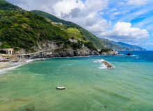 Paysage marin pittoresque de Cinque Terre National Park, Monterosso A Photos stock