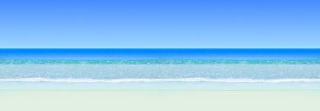 Paysage marin réaliste de vecteur Océan de mer avec l'horizon et la plage Fond sans joint horizontal Photo libre de droits