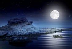 Paysage marin rêveur de nuit Images stock