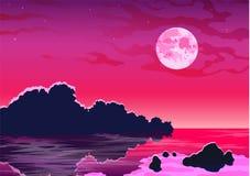 Paysage marin romantique de soirée avec la lune Images libres de droits