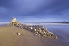 Paysage marin serein en plage d'Atxabiribil Images libres de droits