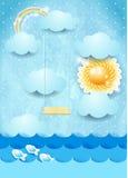 Paysage marin surréaliste avec le soleil et l'oscillation Photographie stock
