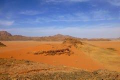 Paysage martien de désert de Wadi Rum, Jordanie image libre de droits