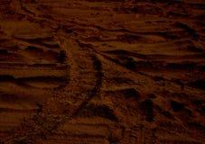 Paysage martien de rouge de planète de Mars de coucher du soleil Ressemble au désert froid sur Mars Photo stock
