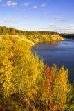 Paysage merveilleux de forêt un jour ensoleillé Scène colorée d'automne images stock