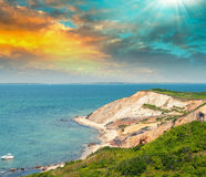 Paysage merveilleux de plage d'Aquinnah, Martha's Vineyard Photo stock