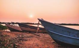 Paysage merveilleux de vieux bateaux ancrés dans Pantanal, Brésil photos libres de droits