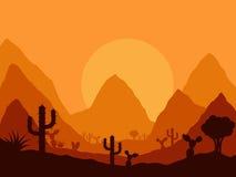 Paysage mexicain de coucher du soleil avec la silhouette du cactus Photographie stock