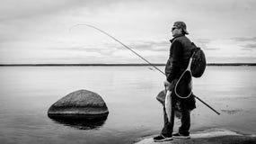 Paysage monochrome de pêche Photographie stock